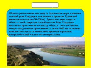 Область расположена квостоку от Аральского моря, в нижнем течений реки Сырда