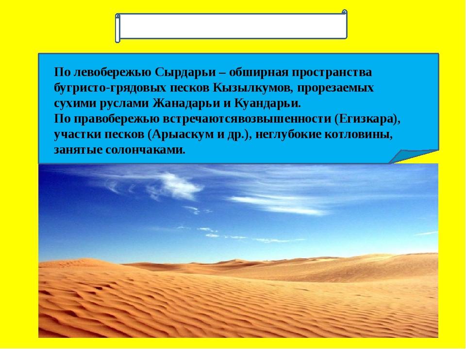 По левобережью Сырдарьи – обширная пространства бугристо-грядовых песков Кыз...
