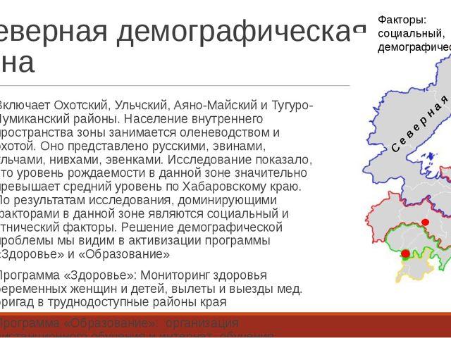 Северная демографическая зона Включает Охотский, Ульчский, Аяно-Майский и Туг...
