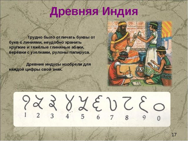 Древняя Индия Трудно было отличать буквы от букв с линиями, неудобно хранить...