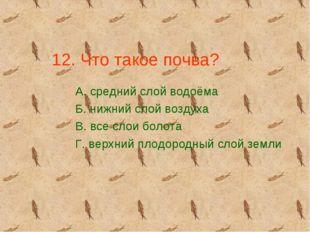12. Что такое почва? А. средний слой водоёма Б. нижний слой воздуха В. все сл