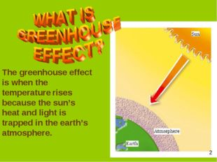 The greenhouse effect is when the temperature rises because the sun's heat an
