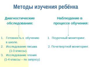 Методы изучения ребёнка Диагностические Наблюдение в обследования: процессе о