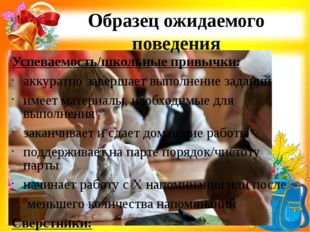 Образец ожидаемого поведения Успеваемость/школьные привычки: аккуратно заверш