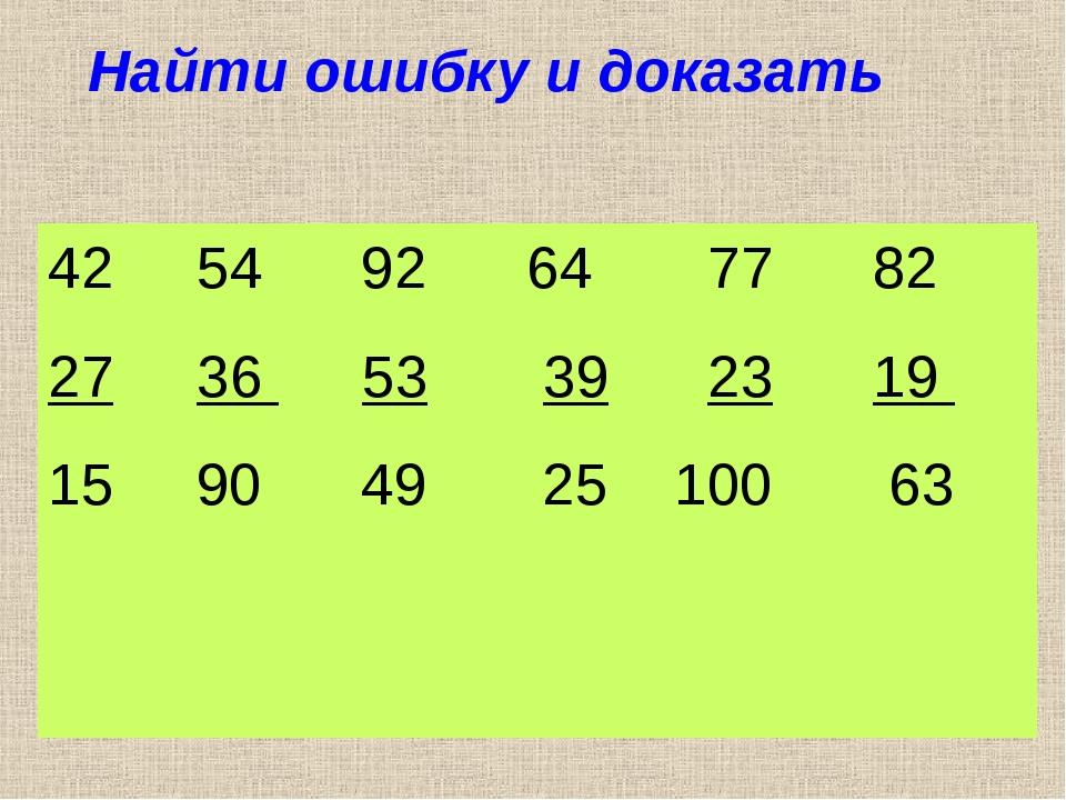 Найти ошибку и доказать 54 92 64 77 82 27 36 53 39 23 19 15 90 49 25 100 63