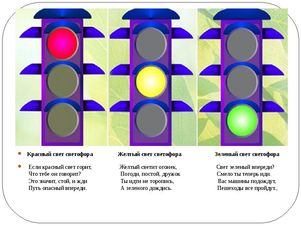 Красный свет светофора Желтый свет светофора Зеленый свет светофора Если кра...