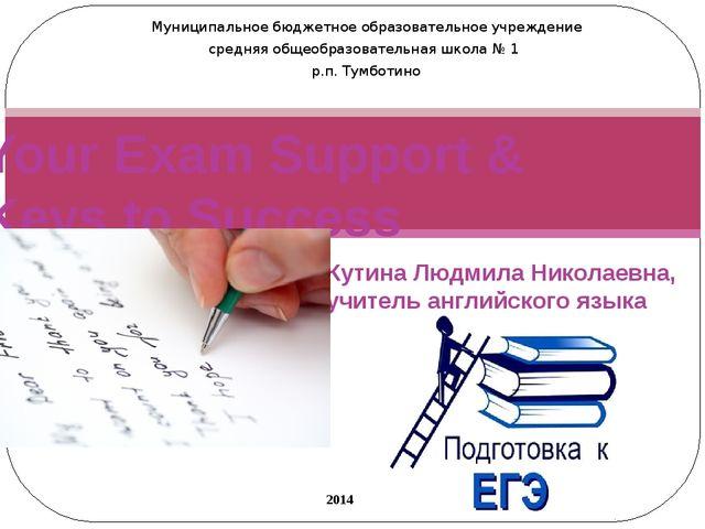 Кутина Людмила Николаевна, учитель английского языка Your Exam Support & Keys...