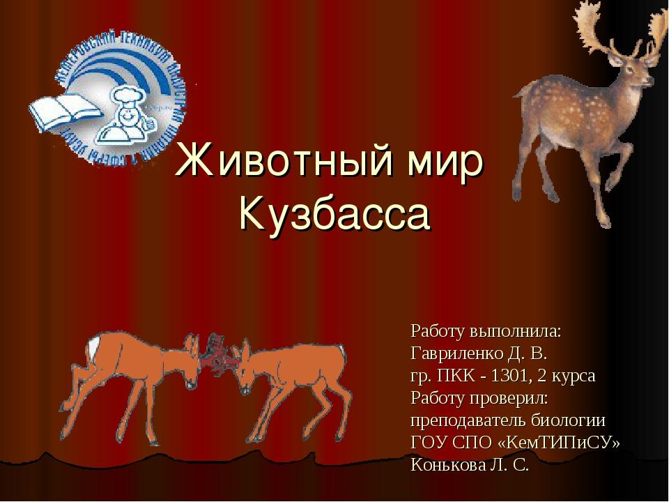 Животный мир Кузбасса Работу выполнила: Гавриленко Д. В. гр. ПКК - 1301, 2 ку...