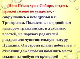 «Наш Псков хуже Сибири, и здесь пылкой голове не усидеть», - сокрушались о н