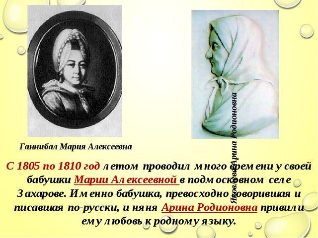 С 1805 по 1810 год летом проводил много времени у своей бабушки Марии Алексее...