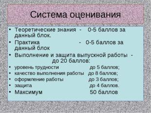 Cистема оценивания Теоретические знания - 0-5 баллов за данный блок. Практика