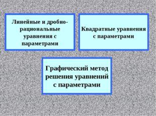 Линейные и дробно-рациональные уравнения с параметрами Квадратные уравнения с