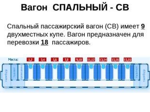 Вагон СПАЛЬНЫЙ - СВ Спальный пассажирский вагон (СВ) имеет 9 двухместных купе