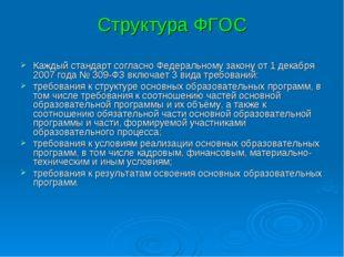 Структура ФГОС Каждый стандарт согласно Федеральному закону от 1 декабря 2007