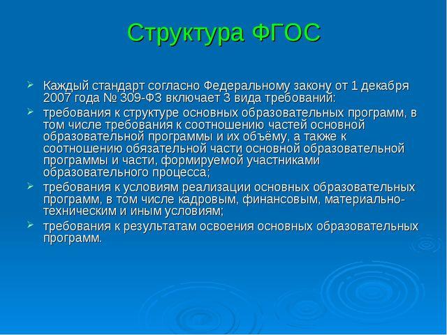 Структура ФГОС Каждый стандарт согласно Федеральному закону от 1 декабря 2007...