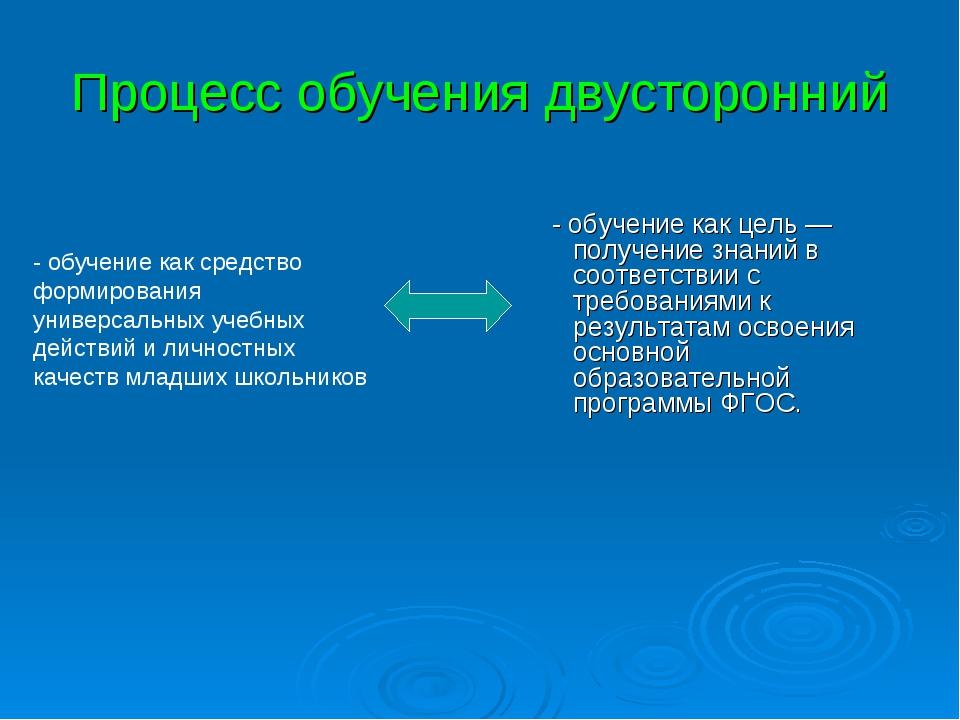 Процесс обучения двусторонний - обучение как цель — получение знаний в соотве...