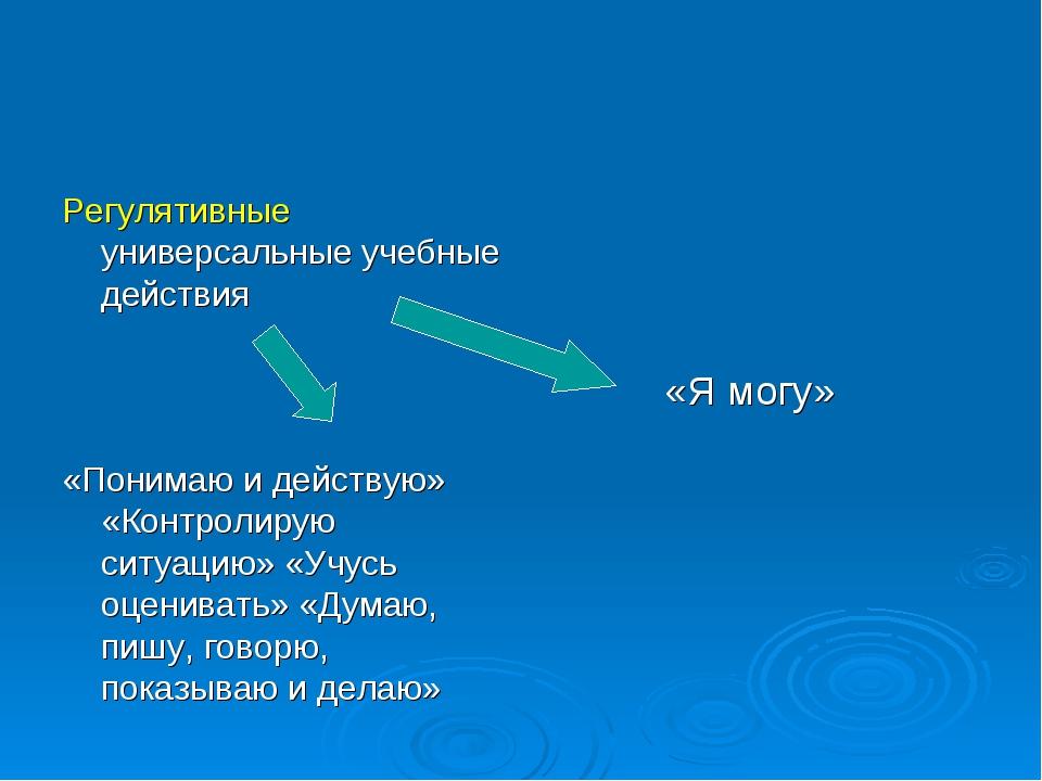Регулятивные универсальные учебные действия «Понимаю и действую» «Контролирую...