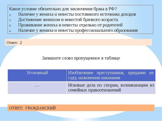 Какое условие обязательно для заключения брака в РФ? Наличие у жениха и невес...