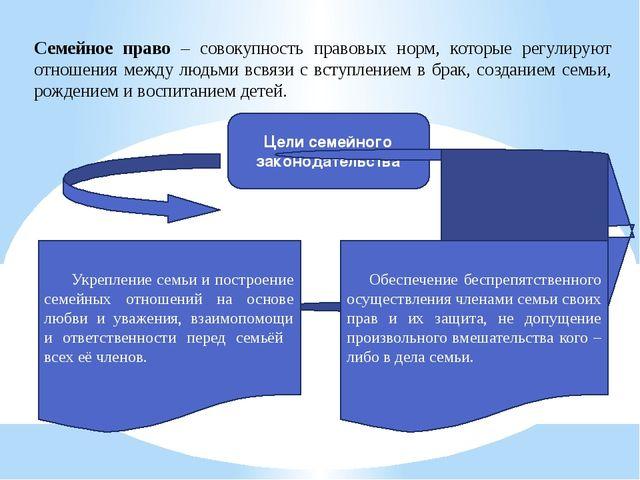 Семейное право – совокупность правовых норм, которые регулируют отношения меж...