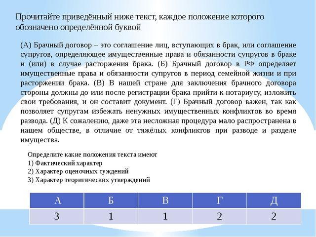 Прочитайте приведённый ниже текст, каждое положение которого обозначено опред...