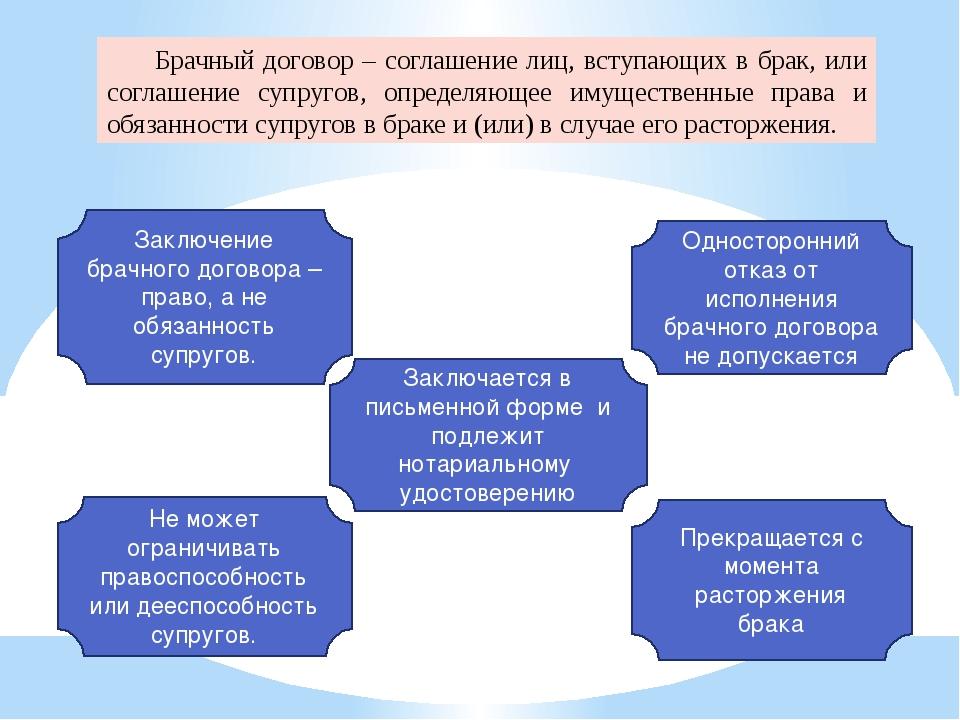 Брачный договор – соглашение лиц, вступающих в брак, или соглашение супругов...