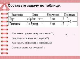 Составьте задачу по таблице. Как можно узнать цену пирожного? (45 : 5 = 9 (p.