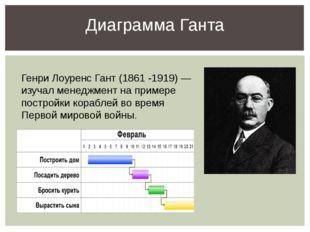 Диаграмма Ганта Генри Лоуренс Гант (1861 -1919) — изучал менеджмент на пример
