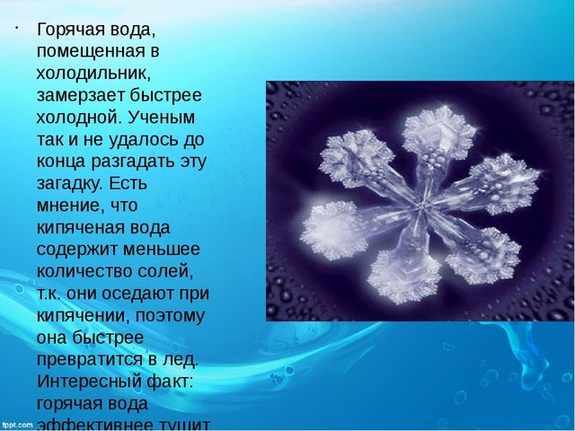 Горячая вода, помещенная в холодильник, замерзает быстрее холодной. Ученым та...