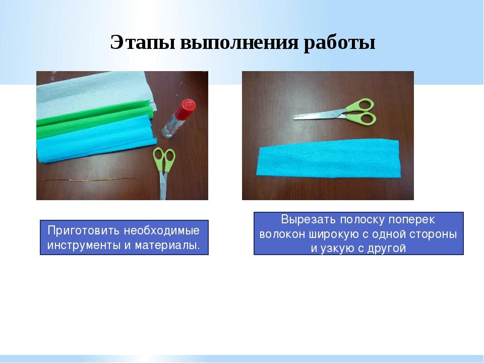 Этапы выполнения работы Вырезать полоску поперек волокон широкую с одной стор...