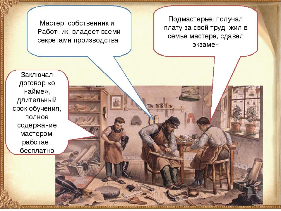 Подмастерье: получал плату за свой труд, жил в семье мастера, сдавал экзамен...