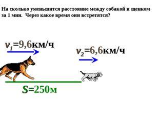 На сколько уменьшится расстояние между собакой и щенком за 1 мин. Через какое