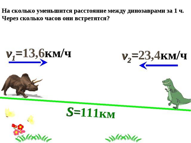 На сколько уменьшится расстояние между динозаврами за 1 ч. Через сколько часо...