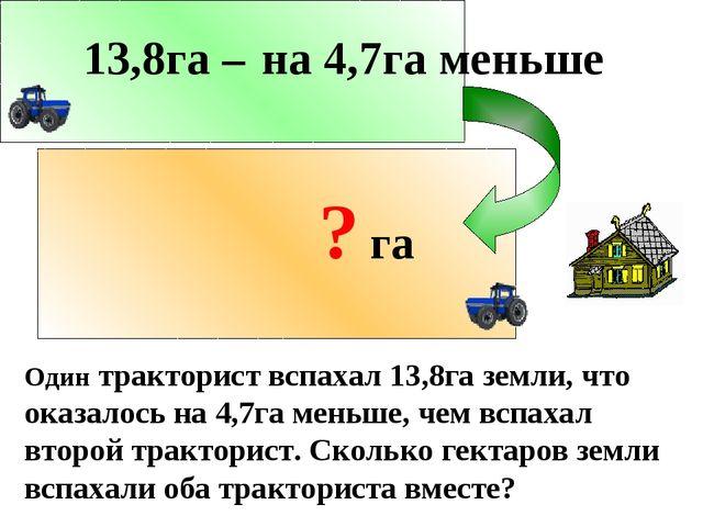 Один тракторист вспахал 13,8га земли, что оказалось на 4,7га меньше, чем вспа...