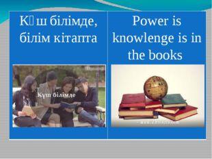 Күшбілімде,білім кітапта Powerisknowlengeis in the books
