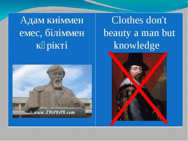Адамкиіммен емес, біліммен көрікті Clothesdon'tbeauty a man but knowledge