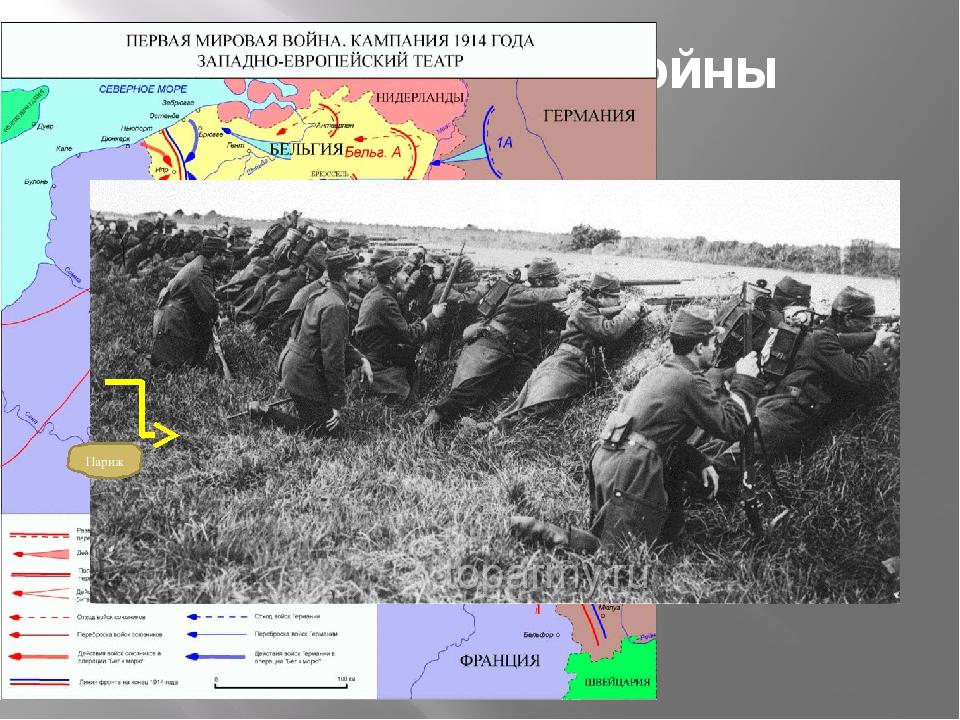 Битва в начале войны Сентябрь 1914 г. Битва на р. Марне (германские войска пр...