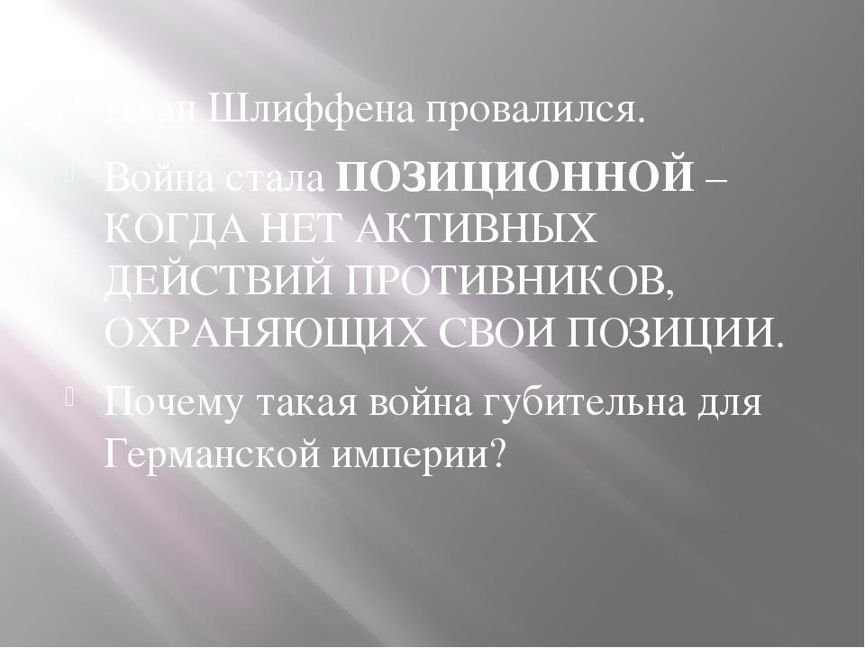 План Шлиффена провалился. Война стала ПОЗИЦИОННОЙ – КОГДА НЕТ АКТИВНЫХ ДЕЙСТВ...