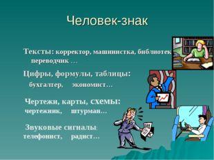 Человек-знак Тексты: корректор, машинистка, библиотекарь, переводчик … Цифры,