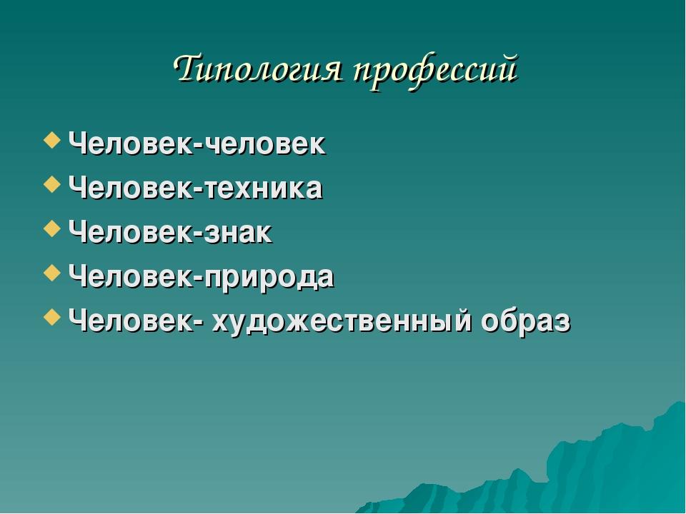 Типология профессий Человек-человек Человек-техника Человек-знак Человек-прир...