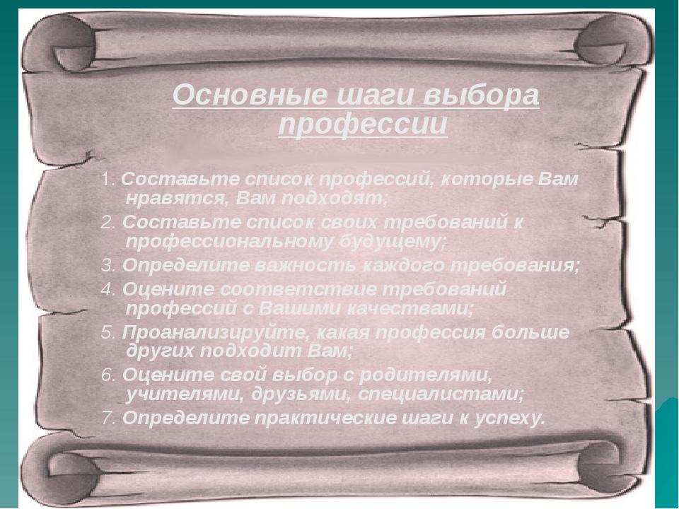 Основные шаги выбора профессии 1. Составьте список профессий, которые Вам...