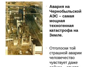 Авария на Чернобыльской АЭС – самая мощная техногенная катастрофа на Земле.