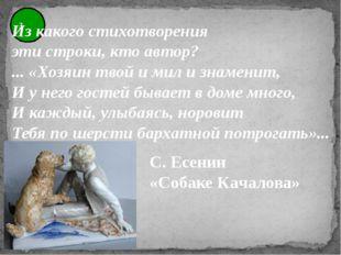 3 Из какого стихотворения эти строки, кто автор? ... «Хозяин твой и мил и зна