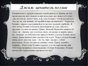 Джим: ценитель поэзии Есенин встал с трудом старался освободиться от Джима, н