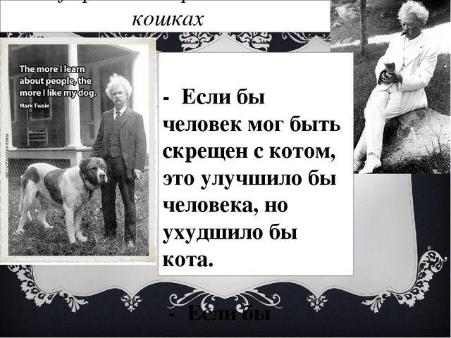 Афоризмы Марка Твена о кошках  - Если бы человек мог быть скрещен с котом,...