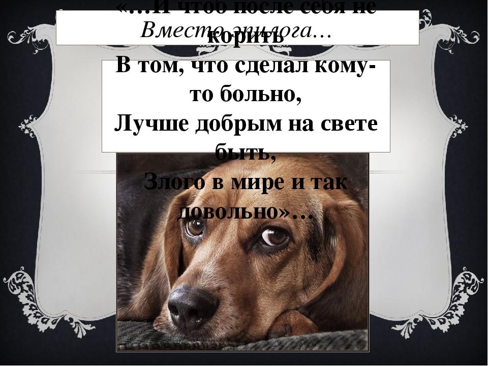 Вместо эпилога… «…И чтоб после себя не корить В том, что сделал кому-то больн...