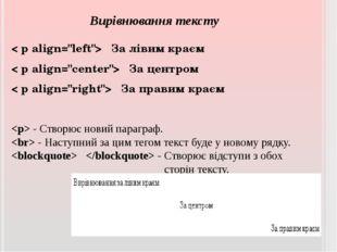 """Вирівнювання тексту < рalign=""""left""""> За лівим краєм < рalign=""""center""""> За ц"""