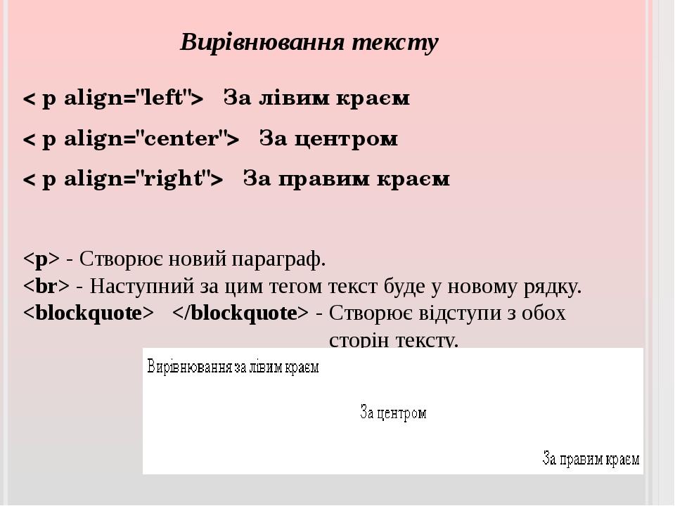 """Вирівнювання тексту < рalign=""""left""""> За лівим краєм < рalign=""""center""""> За ц..."""