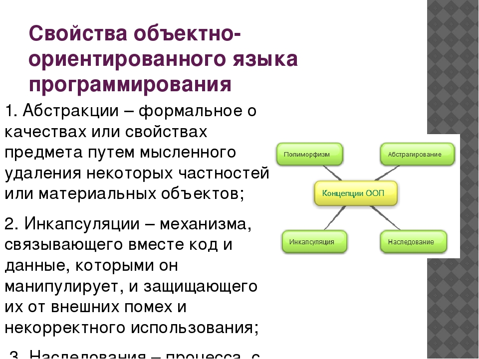 Свойства объектно-ориентированного языка программирования 1. Абстракции – фор...