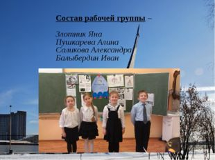 Состав рабочей группы – Злотник Яна Пушкарева Алина Саликова Александра Балыб