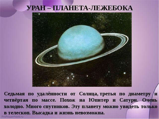 УРАН – ПЛАНЕТА-ЛЕЖЕБОКА Седьмая по удалённости от Солнца,третья по диаметру...